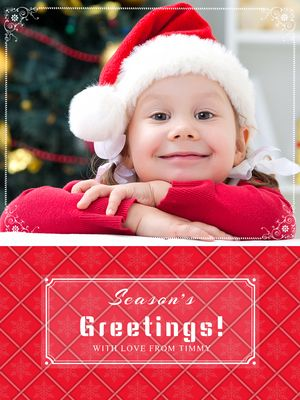 Red Pattern Holiday Card Vertical