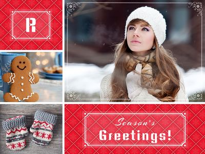 Red Pattern Holiday Card Horizontal