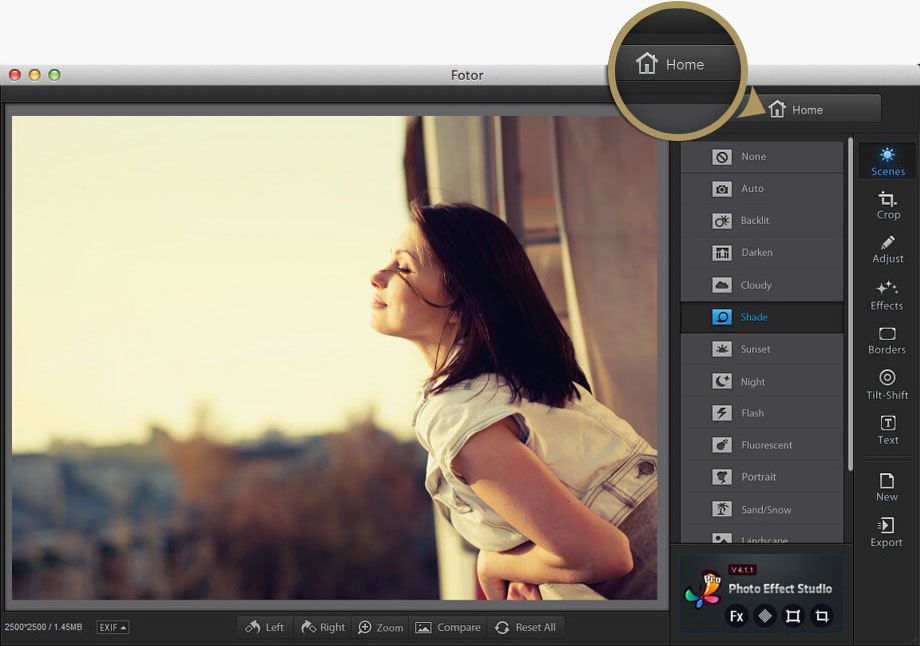 Fotor photo editing workstation home for Mac