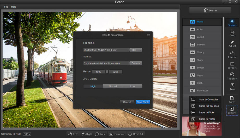 image resize rename convert in Fotor photo editor