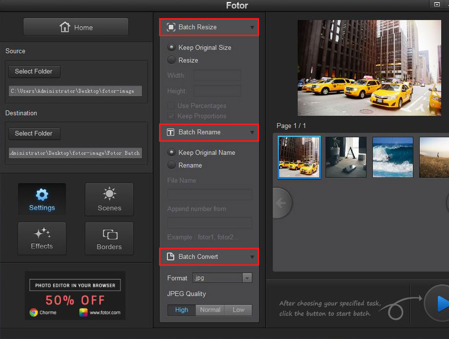 resize photo rename photo in Fotor photo editing batch